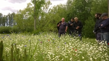 Meadow in flower with Kenneth Seddon, Eric Addy, Chris Taylor, Luca Sanvittore and Giacomo Fazi. (The Land Trust)