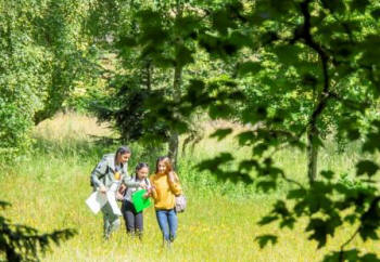 Young people taking part in ecological surveys at the  Penpont Estate (Action for Conservation)