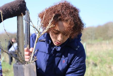 Young person tree planting during a residential camp (Action for Conservation)