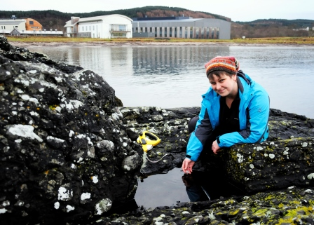 Dr Hannah Grist, CoCoast project officer for Scotland, surveys the  shoreline at SAMS, near Oban (SAMS)