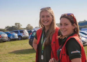 Two of our Volunteer Trainee Reserve Officers  enjoying the sun while wardening at Birdfair  2015 (Eric Renno)