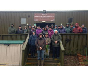 A team of volunteers head off for a guided walk  on the reserve with staff in December 2015  (Sarah Proud)