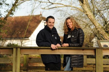 Sally Gunnell visits Sam Buckland to support Prince's Countryside  Fund trainee scheme (Miles Davies, Sussex Wildlife Trust)