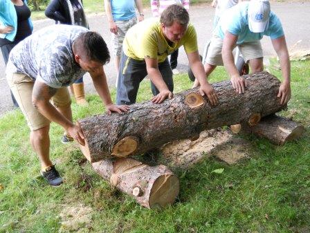 Replacing a rustic bench using storm damaged trees (Keep Wales Tidy