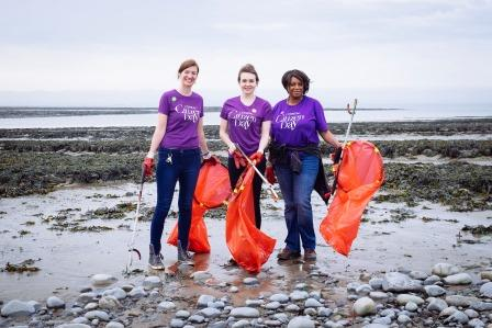 Helping to do a beach clean (Keep Wales Tidy)