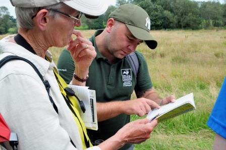 Trainee Mark Pritchard sharing knowledge with local naturalists  © Brian Jones