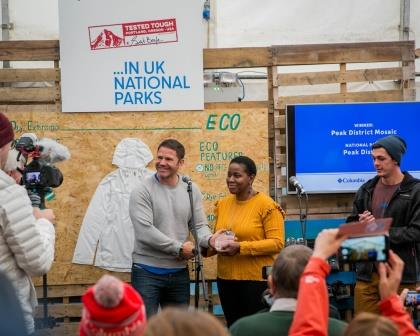 Yvonne Witter from the Peak District Mosaic Group, Winners of the  2017 Group Award (National Parks UK)