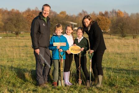 Paul Bunton of the Woodland Trust pictured with children from  Mapperley C of E School & Bridget McGing of Pears Foundation (Phil Formby)