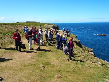 Participants on a guided walk on Skomer Island. © Pembrokeshire Coast NPA