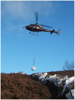 Airlifting the stone before work begins