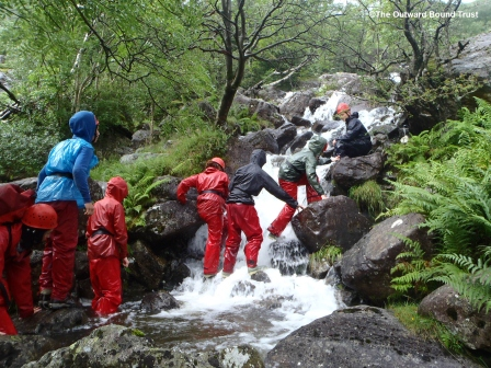 Team work skills from gorge scrambling in The Lake District