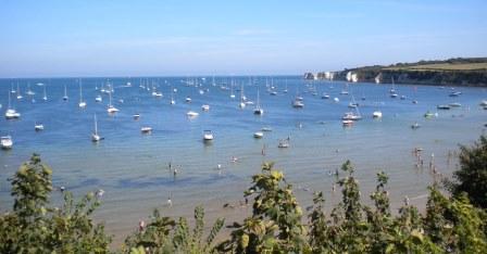 Anchored boats in Studland Bay (© Dorset Wildlife Trust)