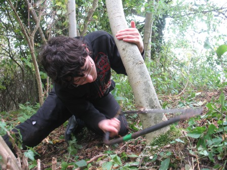 A young coppicing enthusiast at work (Cotswold AONB)