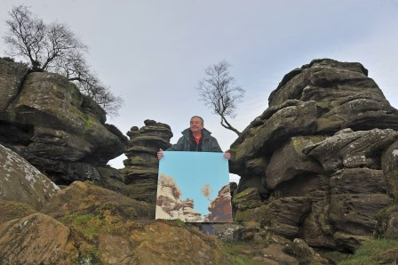 Painting done by Landscape Artist of the Year 2016 finalist Gregor  Henderson displayed by a volunteer (National Trust)