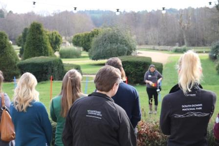 Natalie Light, Certified Clinical Animal Behaviourist, Nat Dogs Ltd  delivering a demonstration of the fun dog training sessions developed in the New Forest NP (Outdoor Recreation Network)