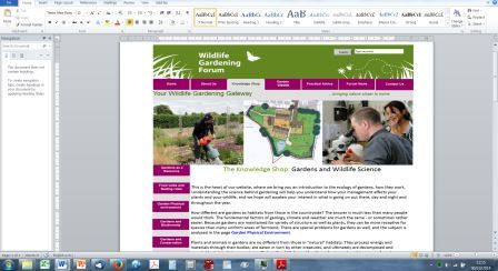 Wildlife Gardening Forum website screenshot