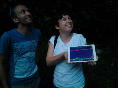 Volunteers testing out a visual echolocation app  (copyright Living Options Devon 2016)