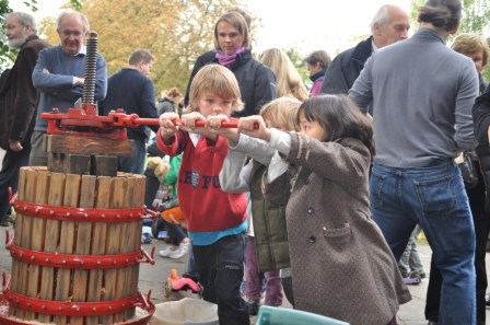 Apple day events often involve making apple juice (Abundance London)