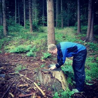 RFS intern Francis Hepburne Scott checking tree rings  match existing stand data at Hockeridge  (Royal Forestry Society)
