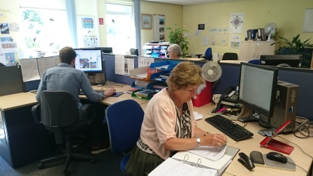 Volunteers at RSPB HQ office (Katy Hillman)
