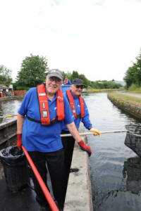 Litter picking by boat, Bumble  Hole on the Dudley Canal  (Canal & River Trust)