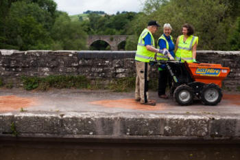 Towpath repairs on the Brynich aqueduct on the  Monmouth & Brecon Canal (Canal & River Trust)