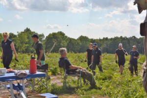 Volunteers about to take a break at Hothfield  Heathlands (© Kent Wildlife Trust)