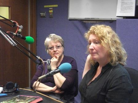 Chair Linda Wenlock with Charlie Dimmock on a radio programme (Froglife)