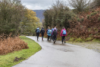 A group of walkers waling along a road Copyright Alun Disley