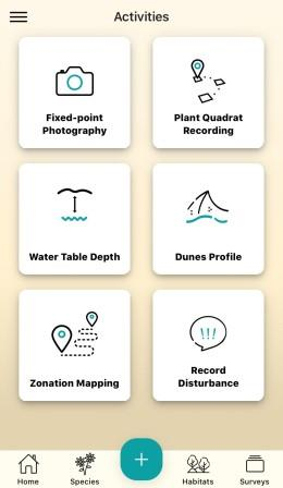 Activities page of the dynamic dunes app