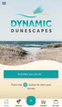 image of the front page of the dynamic dunes app