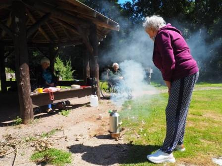 """The first time we used the Kelly kettle I said """"can you help me make a fire to get the tea on"""" """"You're joking?!"""" said one of the participants. Now every week she loves gathering twigs and feeding them into the fire (Froglife)"""