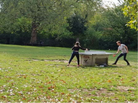2 people playing table tennis in a park © Tim Webb