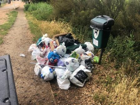 One evening's litter - should the sign say - or leave for someone else to collect????? (James Cowan)