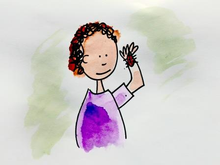 cartoon of a child holding a ladybird (Nature Premium)