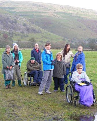 Easy Going walkers at Burnsall in Wharfedale (Open Country)
