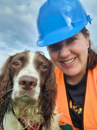 Rachael and Bat and Bird carcass detection dog Max  (Picture courtesy of Rachael at Paws for Conservation)