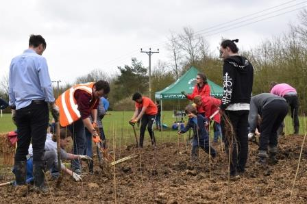 Planting day at Witney Tiny Forest, the UK's first Tiny Forest. Photo credit: Witney Town Council Beth Pudifoot