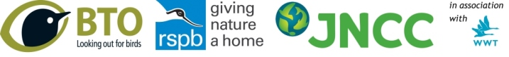 Partnership logos: BTO, RSPB, JNCC & WWT
