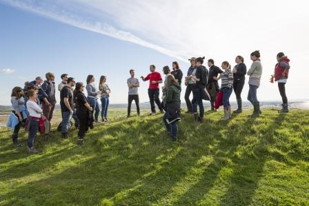 Image: National Trust staff talking to volunteers before beginning work on Brean Down, North Somerset ©National Trust Images/James Dobson