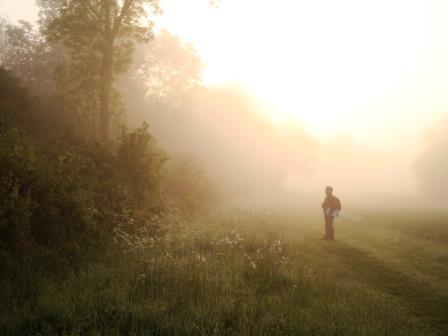 Farmland bird surveyor at dawn, Rectory Farm, Buckinghamshire, April 2011 (Colin Wilkinson)