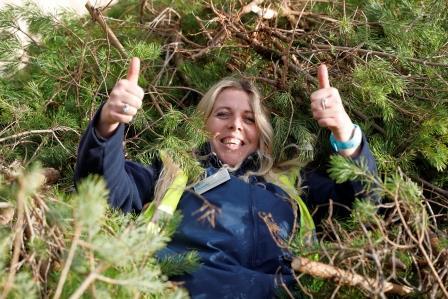 RSPB volunteer at Pull a Pine event, RSPB Arne Nature Reserve, Dorset, December 2019 (Terry Bagley)