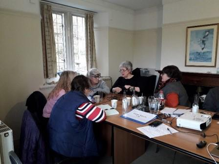 Volunteers being trained to take oral history recordings by Dr Beth Thomas (Elan Links)