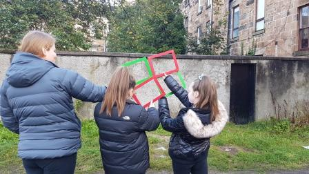 Young people from the Rumpus Room in Glasgow out evaluating their place (greenspace scotland)