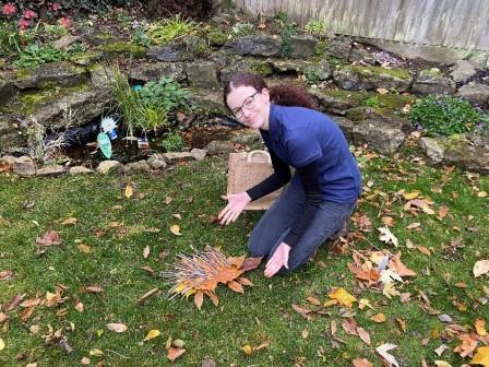 Making leaf art for a Nature Tots video (Kent Wildlife Trust)