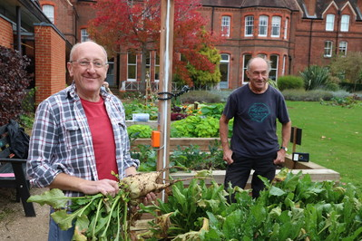 Two people growing vegetables in Reading Vol Action MERL garden (National Academy for Social Prescribing)
