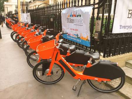 Uber Jump bikes waiting for their riders on the annual Parliamentary Bike Ride outside Prince Philip House in 2019.  (Sam Jones/Cycling UK)