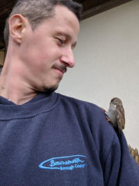 Me with a fledgling sparrow  (Brian Heppenstall)