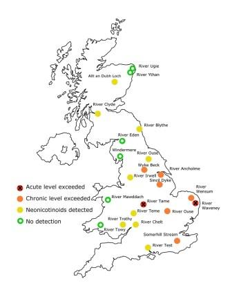 Rivers sampled for level of neonicotinoid insecticides in the water by the Environment Agency (Buglife)