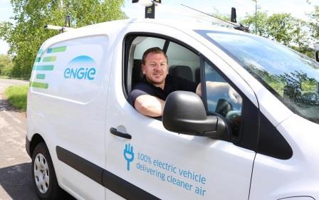 David Brooks in his ENGIE electric van - ENGIE helped launch  the Clean Van Commitment (Global Action Plan)